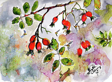 Ginette Callaway - Rose Hips and Bees Watercolor and Ink