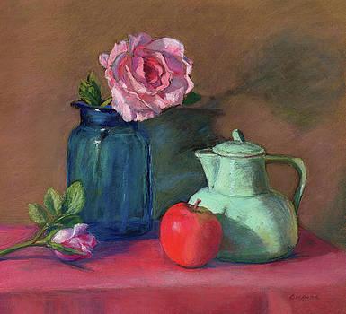 Rose in Blue Jar by Vikki Bouffard