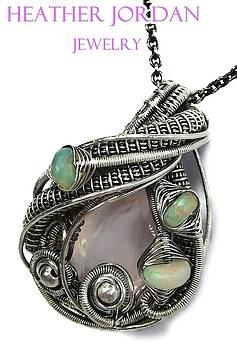 Rose Quartz Wire-Wrapped Pendant in Antiqued Sterling Silver with Ethiopian Welo Opals by Heather Jordan