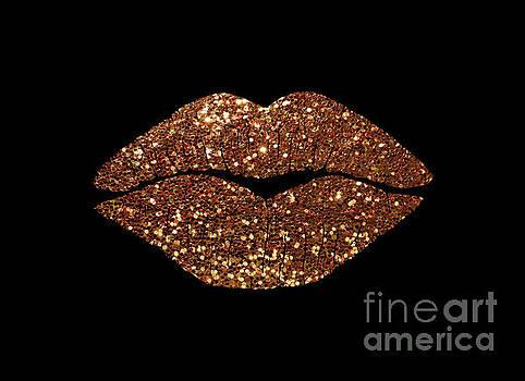 Tina Lavoie - Rosegold Sparkle Kissing Lips Fashion art