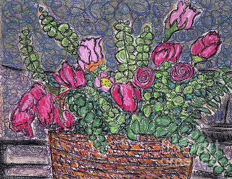 Roses and Eucalyptus in Basket by Gerhardt Isringhaus