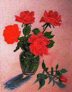 Roses and Fallen Rosebud  by Jeannie Allerton