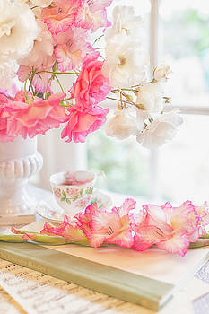 Roses and Gladiolus in Morning Light by Susan Gary