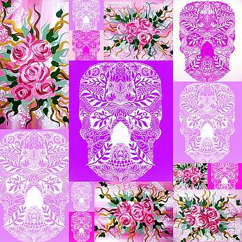 Roses and Skulls collage by Cathy Jacobs