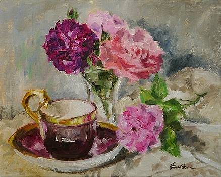 Roses and Teacup by Veronica Coulston