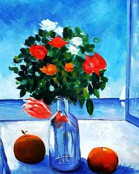 Roses bottle and peaches by Sandro Sabatini