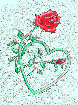 Roses Hearts And Lace Flowers Design  by Dale E Jackson