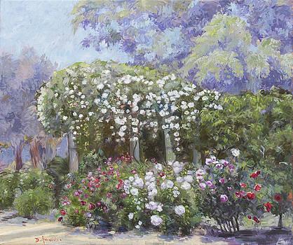 Roses in a garden by Dominique Amendola