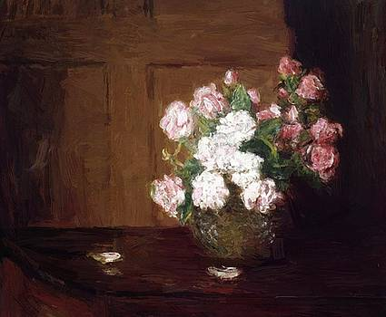 Weir Julian Alden - Roses In A Silver Bowl On A Mahogany Table