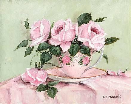 Roses in a Vintage Teacup by Gail McCormack