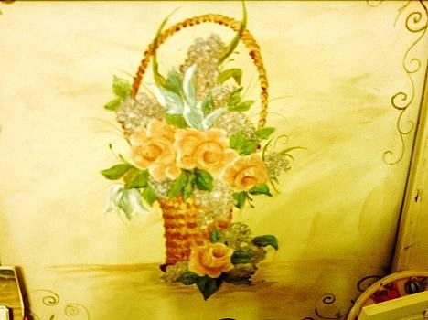 Roses In Basket by Carolyn Sylvester