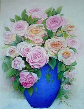 Roses In Blue Vase by Barbara Anna Cichocka