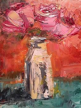 Roses in Milk Bottle by Susan E Jones