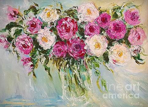Roses in Pink and White by Amalia Suruceanu