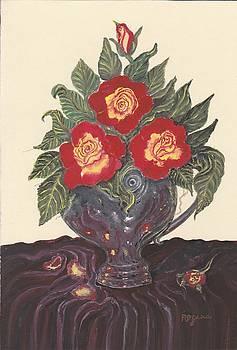 Roses in Silver Vase by Regina Taormino