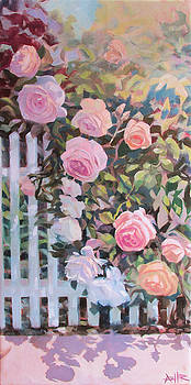 Roses on a Picket Fence by Azhir Fine Art
