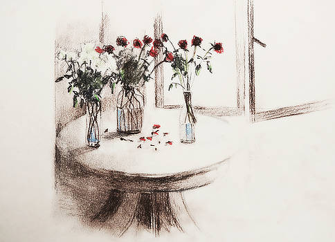 Roses on table by Natalia Stahl