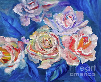 Roses, Roses on Blue by Jenny Lee