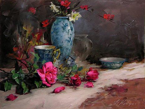 Roses wih a blue vase by Demetrios Vlachos