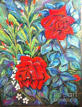 Roses With Baby Breath by Beverly Boulet