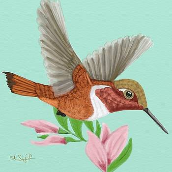 Roufus Hummingbird Floral by Shae Leighland-Pence