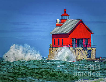 Rough water at Grand Haven Light by Nick Zelinsky