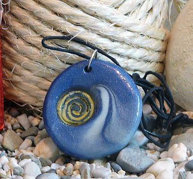 Round Blue Pendant with Spiral by Chara Giakoumaki