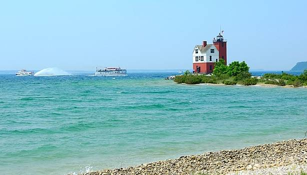 Round Island Lighthouse Shore Mackinac Straits Michigan by Mikel Classen