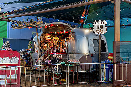 Route 66 And Airstream On Tha Pier by Gene Parks