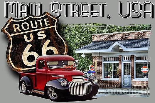 Route 66 Chevy at the Station by Paul Kuras