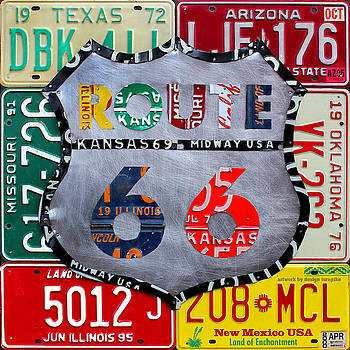 Route 66 Recycled Vintage License Plate Art by License Plate Art and Maps