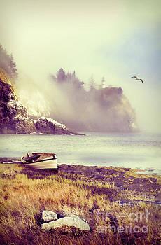Jill Battaglia - Row Boat by Lighthouse