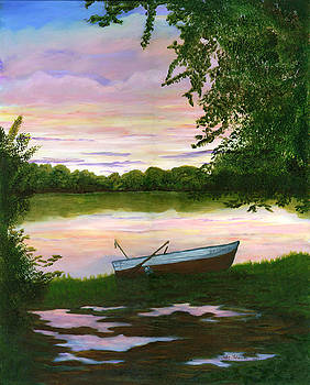 Row Boat Painting by Judy Filarecki