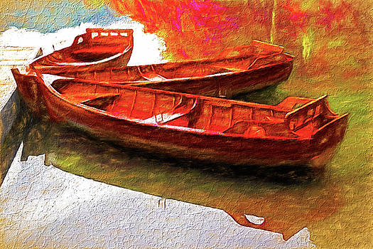 Dennis Cox - Row Boats at Dock