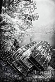 Row Boats on Blue Ridge Parkway Price Lake BW by Dan Carmichael