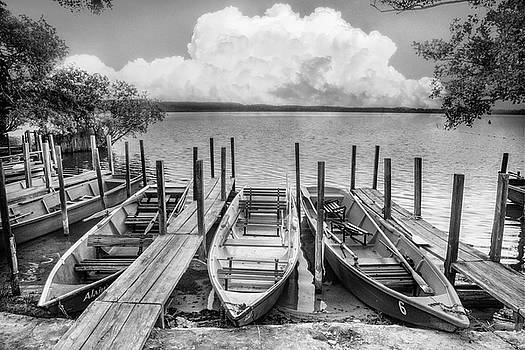 Debra and Dave Vanderlaan - Rowboats at the Lake in Black and White