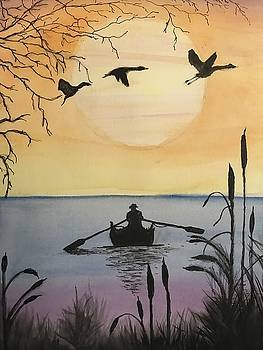 Rowing into the sunset by Tammy McClung