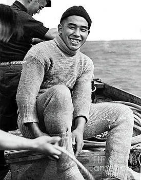 California Views Mr Pat Hathaway Archives - Roy Hattori Abalone diver in his  dive underwear. 1938