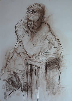 Roy leaning on stool. by Harry Robertson