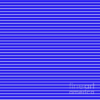 Royal Blue and White Horizontal Stripes by Leah McPhail