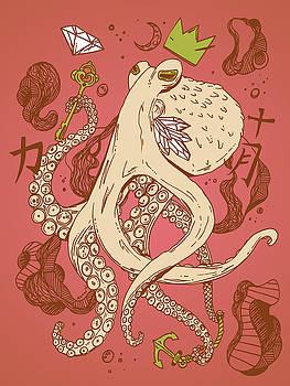 Royal Octopus Rose Green by Kenal Louis