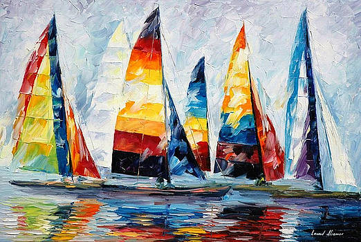 Royal Regatta - PALETTE KNIFE Oil Painting On Canvas By Leonid Afremov by Leonid Afremov