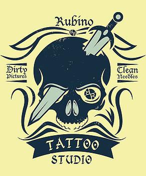 Rubino Motorcycle And Tattoo Skull by Tony Rubino