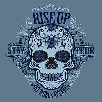 Rubino Rise Up Skull Blue by Tony Rubino