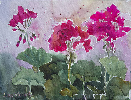 Ruby Geraniums by Lisa Vincent