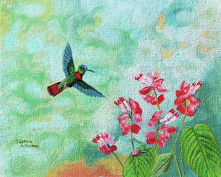 Ruby-throated Hummingbird and his Delectable Flowers by Jeannie Allerton
