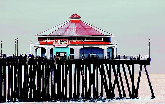 Ruby's Diner Huntington Beach Pier by Carol Tsiatsios