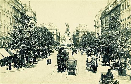 Rue du Temple and Place de la Republique, Paris ca 1900 by Vintage Printery