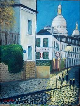 Rue Norvins, Paris by Jean Pierre Bergoeing