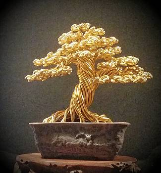 Rugged Gold Wire Tree Sculpture by Ricks Tree Art